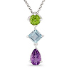 Sterling Silver 3 1/8 CT TGW Multi-Color Fashion Pendant