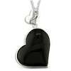Sterling Silver 34mm Black Heart Onyx Pendant with Chain