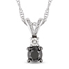Small 10K White Gold Black & White Diamond Pendant