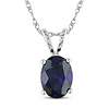 10K White Gold 2 CT TGW Oval Cut Synthetic Sapphire Pendant with Chain