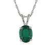 1.20 CT TGW 10K White Gold Synthetic Emerald Fashion Pendant with Chain