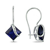 10K White Gold 4 1/8 CT TGW Synthetic Sapphire Euro Back Earrings