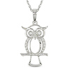 10K White Gold Owl Pendant with Diamond Accents