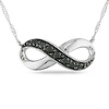 10K White Gold Black Diamond Infinity Pendant
