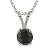 14K White Gold Black Diamond Solitaire Pendant
