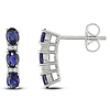 Sterling Silver 0.04 CTW Diamond & 1.50 CT TGW Synthetic Sapphire Ear Pin Earrings