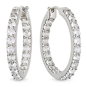 Sterling Silver Hoop Earrings with Synthetic Sapphire Diamonds