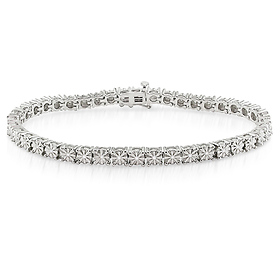 Sterling Silver Round Diamond Tennis Bracelet