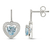 Heart Sky Blue Topaz & Diamond-Lined Sterling Silver Drop Earrings