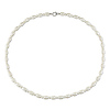 18in Freshwater 3-3.5mm & 5mm 5.5mm Rice & Round Pearl Necklace w/Silver stone Metal Clasp-Clean no Rings