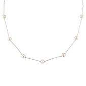Sterling Silver Freshwater Pearl Necklace on Round Cable Chain