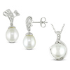 2pc Silver Set Of Freshwater Pearl & Diamond-Accent Earrings & Pendant w/ Chain