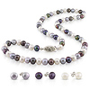 4pcs Set of 6-7mm White/Black/Grey Freshwater 18in Pearl Necklace w/ Silver Tone Fish Eye Clasp & 3 pairs of Silver Freshwater Button Pearl Stud Earrings