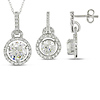 Sterling Silver and White CZ Earrings & Pendant Set