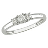 Slim 14K White Gold 3 Stone Diamond Ring