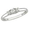 Slim 14K White Gold 3 Stone Diamond Ring