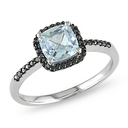 aquamarine and black diamond gold ring