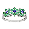 0.01 CTW Diamond & 5/8 CT TGW Synthetic Sapphire Synthetic Emerald Flower Ring Silver