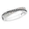 Rhodium Black & White Diamond Bypass Ring