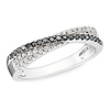 Rhodium Black & White Diamond Bypass Ring