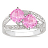 Sterling Silver Splitshank Diamond & Pink Topaz Ring