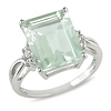 5 5/8 CT TGW Green Amethyst White Topaz Fashion Ring Silver