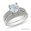 Sterling Silver Prong and Pav� CZ Engagement Ring Set