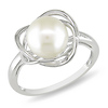 Sterling Silver White Freshwater Pearl Love Knot Ring