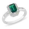 Elegant Diamond & Created Emerald Fashion Ring