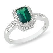 Synthetic Emerald Fashion Silver Ring