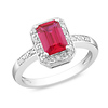 0.06 CT Diamond TW & 1.59 CT TGW Synthetic Ruby Fashion Ring Sterling Silver
