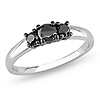 Sterling Silver 3 Stone Black Diamond  Ring