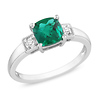 Sterling Silver Created Emerald Ring with Diamond Accents