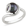 Sterling Silver Black Freshwater Pearl Ring with Diamond Accents