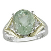 14K Yellow Gold & Silver Green Amethyst Ring with Diamond Accents