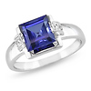 10K White Gold Diamond & Created Tanzanite Ring