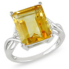 Silver Twist Emerald-Cut Citrine Ring with White Topaz Accents