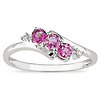 10K White Gold 3 Stone Pink Topaz Bypass Ring with Diamond Accents