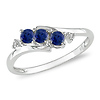 10K White Gold 3 Stone Created Blue Sapphire Bypass Ring