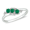 10K White Gold 3-Stone Created Emerald Bypass Ring with Diamond Accent