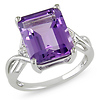 Sterling Silver White Topaz & Amethyst Ring