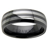 8mm Black Ceramic Two Row Tungsten Inlay Wedding Band