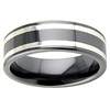 8mm Black Ceramic Silver Inlay Polished Wedding Band