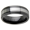 8mm Black Ceramic Tungsten Inlay Step Down Wedding Band