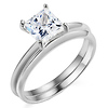 1.5ct 14K White Gold Princess Cut Solitaire CZ Wedding Ring Set