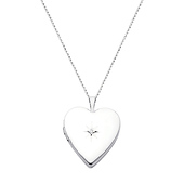 14K White Gold Heart Locket Pendant with Diamond-Accent Necklace
