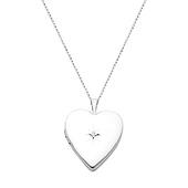 14K White Gold Heart Locket Pendant with Diamond-Accent