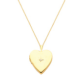 14K Yellow Gold Heart Locket with Diamond-Accent