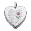 Sterling Silver Pink Enamel Engraved Heart 'I Love You' Locket Pendant