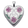 Sterling Silver Pink Enamel Engraved Heart Locket Pendant